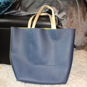 Handbags - NAVY BLUE AND GREEN TOTE BAG